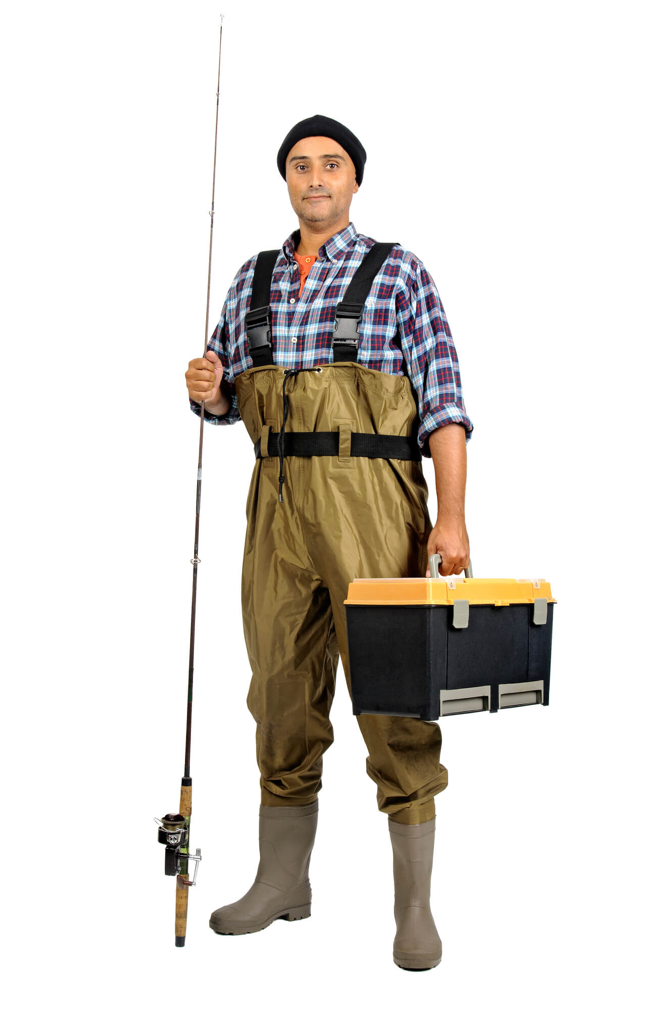Man in Fishing Waders With Tackle