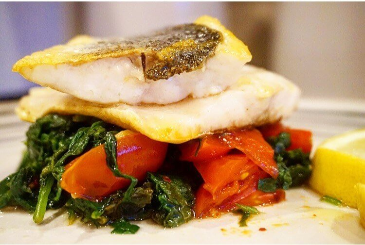 pan-fried-des-bass-spinah-tomato-base recipe