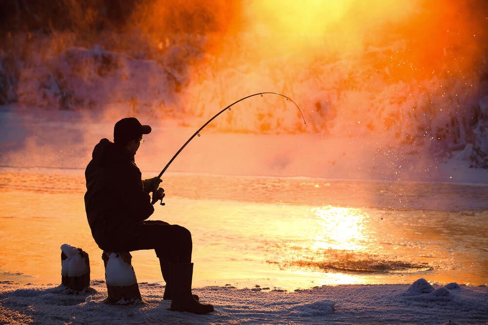 Cold Winter Fishing on Lake